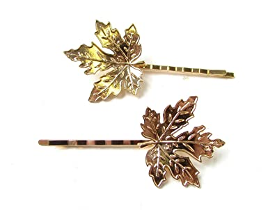 a0cafd67d El Regalo Leaf Gold Hair Clips for Women - Set of 2: Amazon.in ...