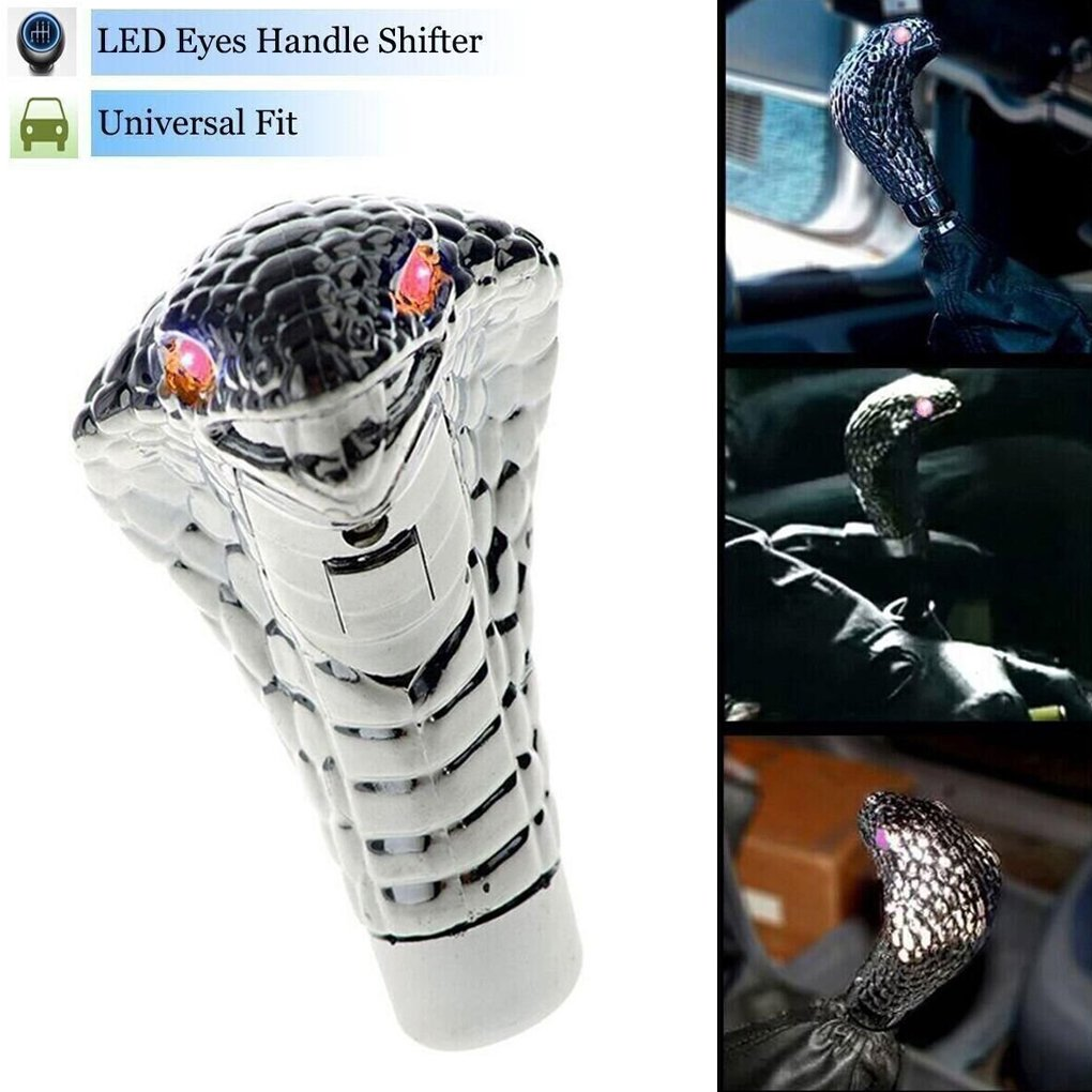 Egal Car Snake Head ABS Gear Shift Knob Car Motion Activated LED Light Handle Shifter Manual Automatic Gear Shifting Knob red Light