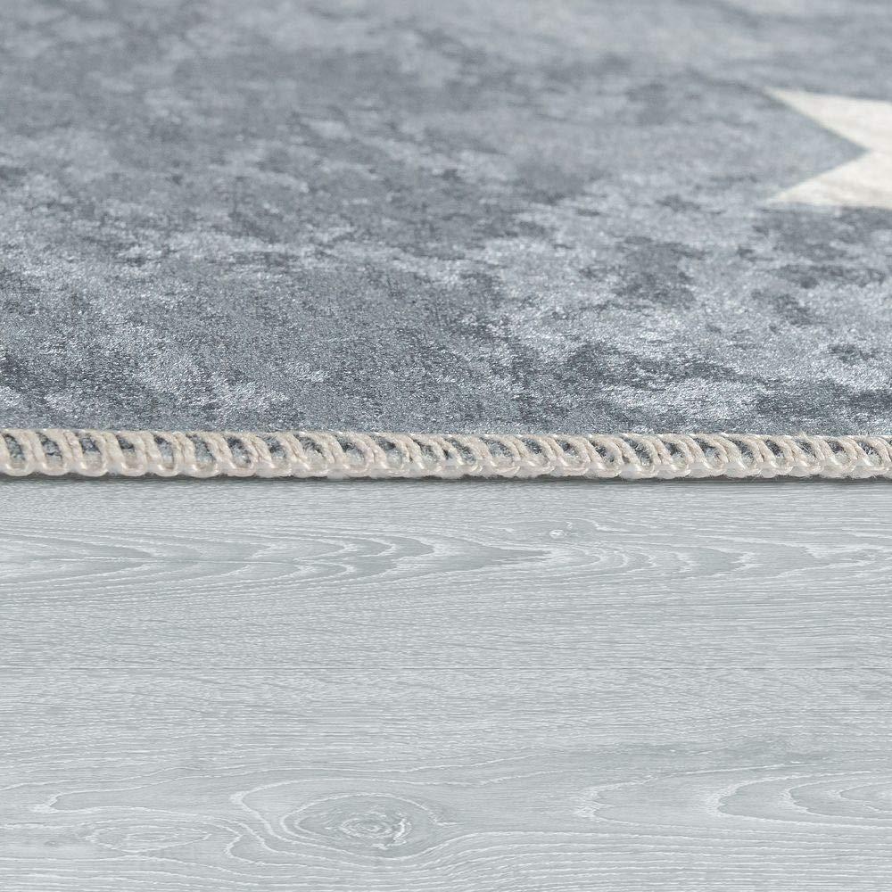 Dimensione:80x150 cm Paco Home Tappeto per Bambini Stanza dei Bambini Moderno Lavabile Stelle Carine Detto Grigio Bianco