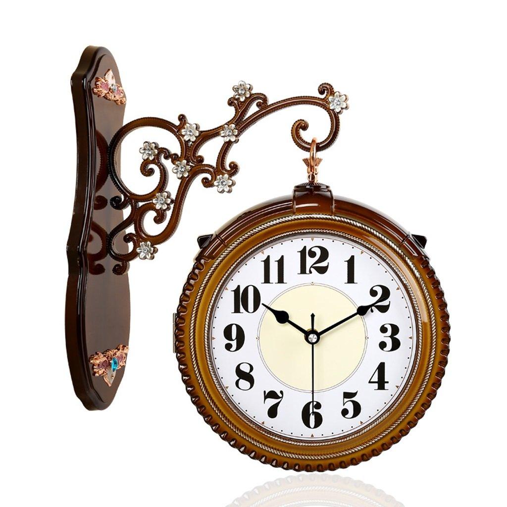 掛け時計 ウォールクロック16インチ両面ウォールクロックリビングルーム時計ミュートクリエイティブクロックレトロガーデンクォーツ時計 Rollsnownow (色 : 木の色) B07BJZCYS1 木の色 木の色