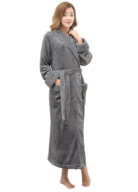 Women s Long Flannel Bathrobe Ultra Soft Plush Microfiber Fleece Robes at  Amazon Women s Clothing store  c7ea0ff37