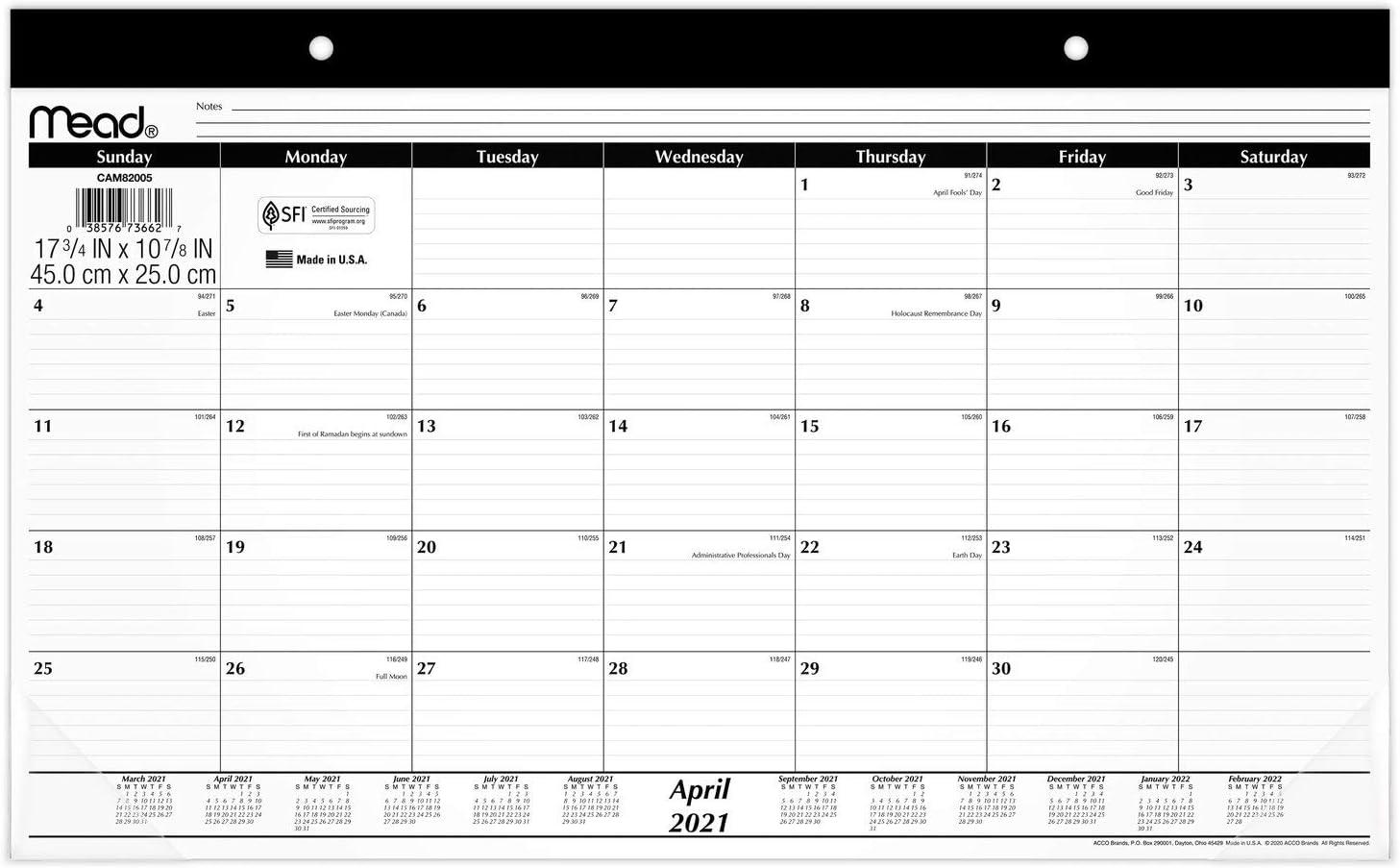 Academic Desk Calendar 2021-2022, Mead Desk Pad Calendar, Monthly, 17-3/4