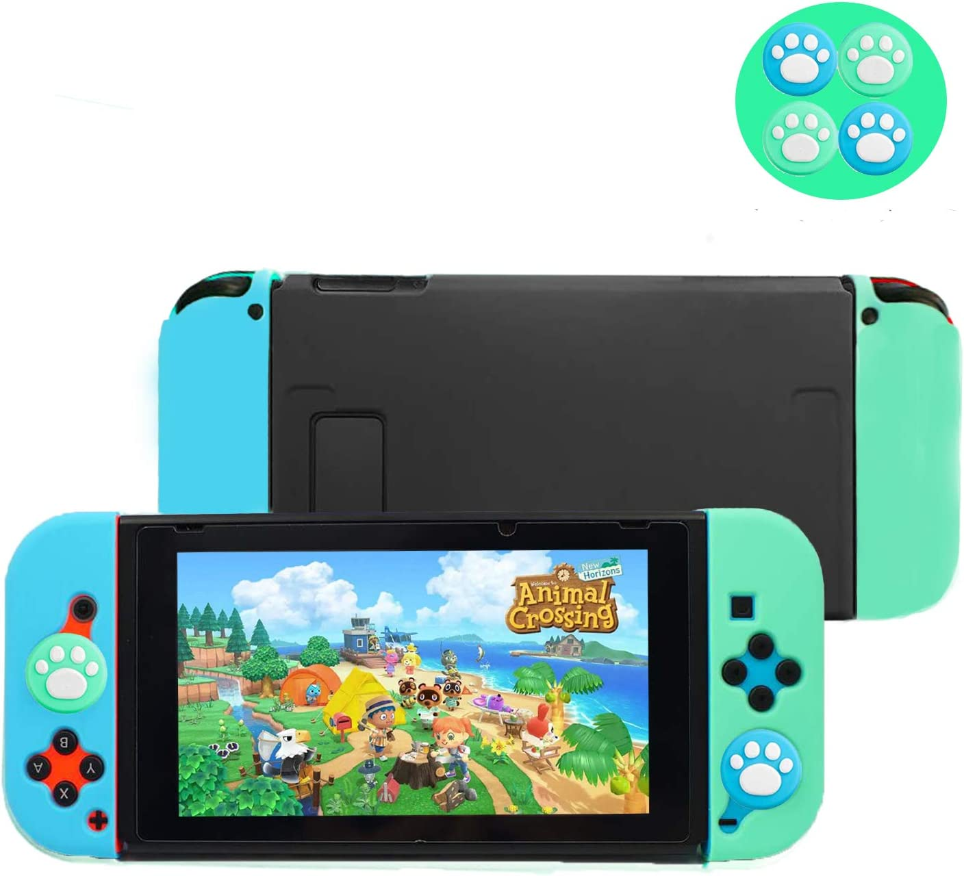 Dockable Case for Switch, Protective Case Cover with Shock-Absorption and Anti-Scratch Design, HD Clear Soft Touch Grip Cover, Free 4 Green&Blue Thumb Caps (for Animal-Crossing Theme)