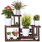 FOLDIFY Pine Wood Plant Stand Indoor Outdoor Multiple Flower Pot Holder Shelf Rack Higher and Lower Planter Display Shelving