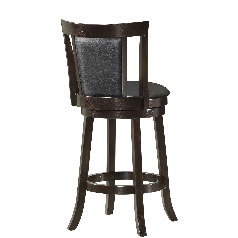 Amazing Monarch Specialties I Wood Swivel Barstools 39H Cappucino Black Leather Look Machost Co Dining Chair Design Ideas Machostcouk