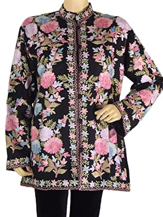 Black Cashmere Embroidered Jacket Ladies Elegant Clothing Coat Party Wear XL