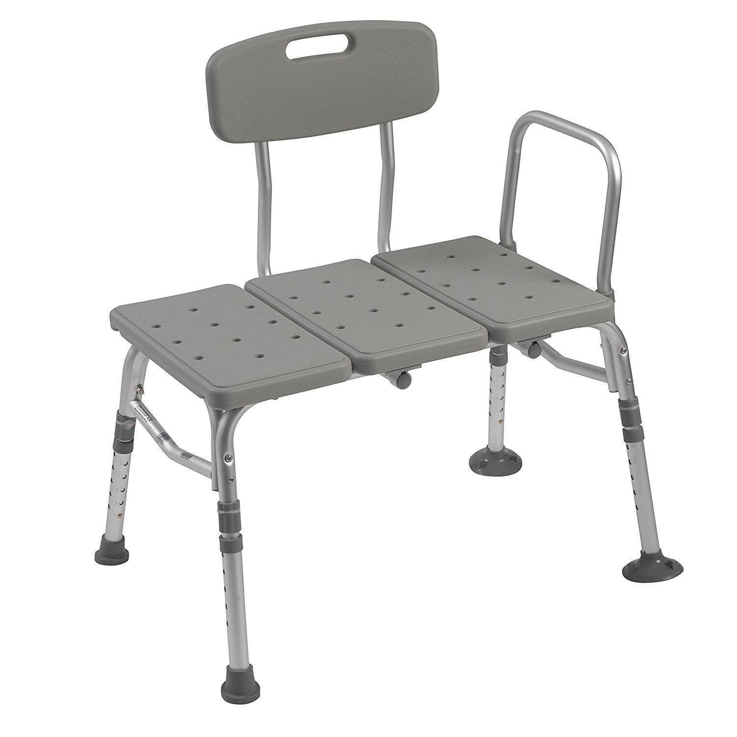 Moon Daughter Plastic Aluminum Shower Tub Transfer Bench Stool with Adjustable Backrest Seat Height Gray Extending Legs