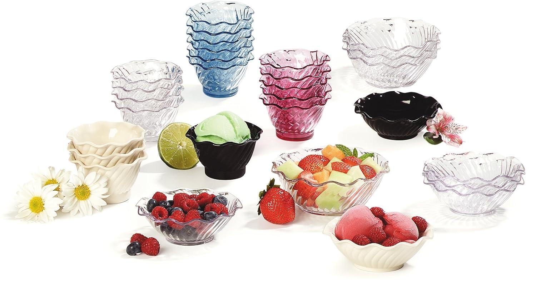 Pack of 24 5 oz Clear Carlisle 453107 Tulip Plastic Berry Dish