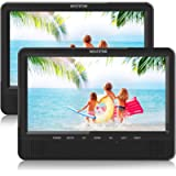 WONNIE 10'' Dual Car DVD Player Portable for Trip Travel Built-in 5 Hours Rechargeable Battery, Last Memory&USB&SD Slot…