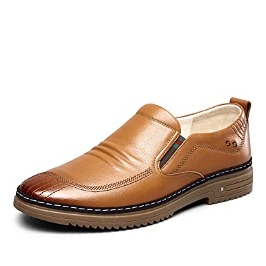 Men Genuine Leather Loafers Shoes Cow Leather Loafers Round Head Breathable Solid Business Casual Shoes Set Of Feet Rubber Shoes Quality First Men's Casual Shoes