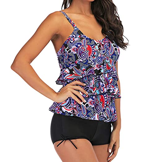 Shorts Plus Size Swimsuit Beachwear Womens Blouson Tankini Sets Swimwear Tops