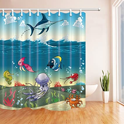 Hand painted jellyfish and aquatic plants Shower Curtain set Bathroom 71inch