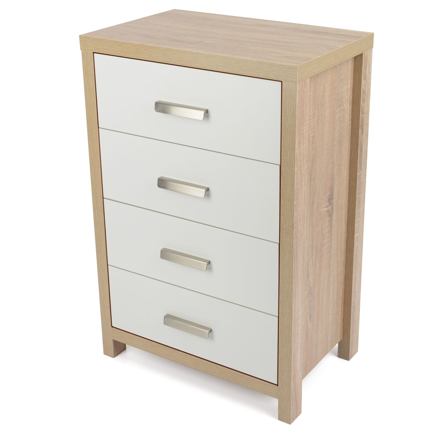 Modern Bedroom Chest Of Drawers Bianco Oak Effect White Wood 3 Drawer Chest Of Drawers Modern