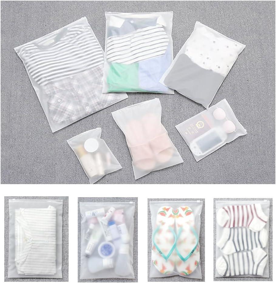 Vankra 10 bolsas impermeables para ropa de viaje pl/ástico esmerilado con cierre de cremallera