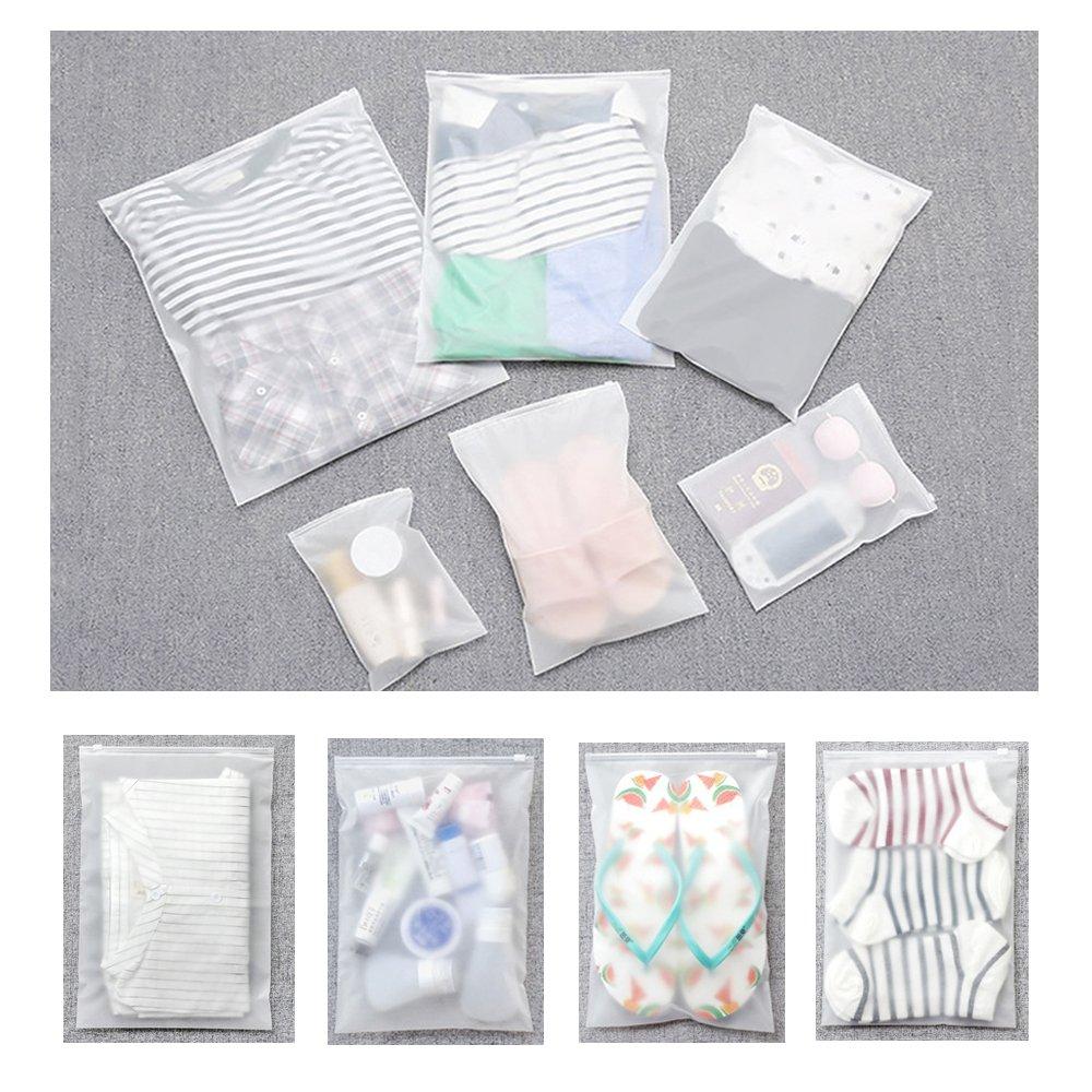 10 bolsas impermeables para ropa de viaje pl/ástico esmerilado con cierre de cremallera Vankra