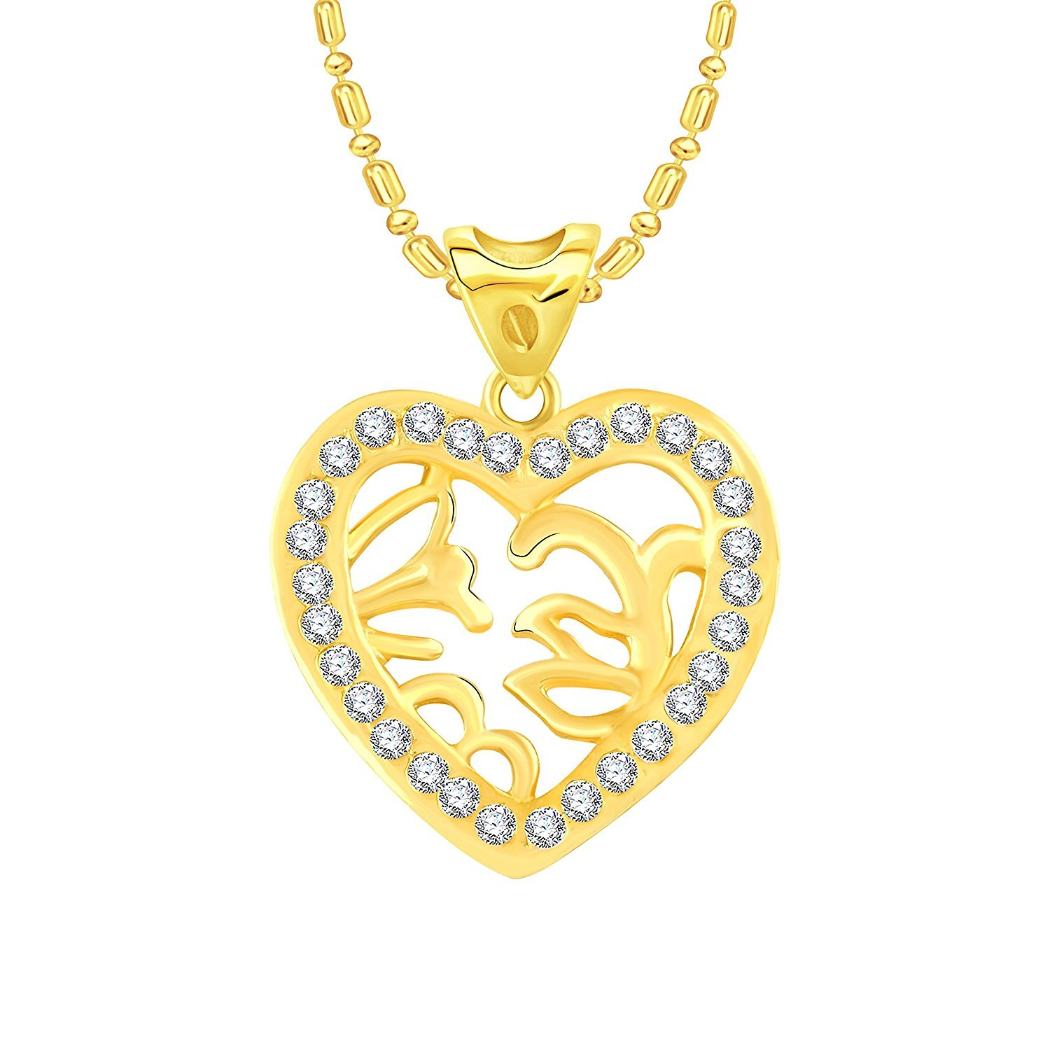 Simulated Diamond Studded Fashion Love Promise Heart Pendant Necklace in 14K Yellow Gold Plated With Box Chain