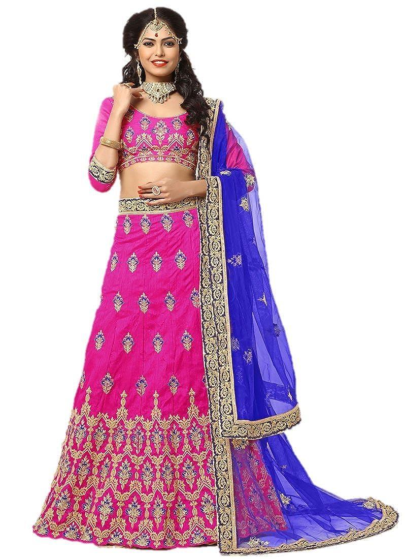 7d9c5586a4 EthnicWear Silk Trendy Stylish Designer Wedding Wear Hot Pink Lehenga Choli  New at Amazon Women's Clothing store: