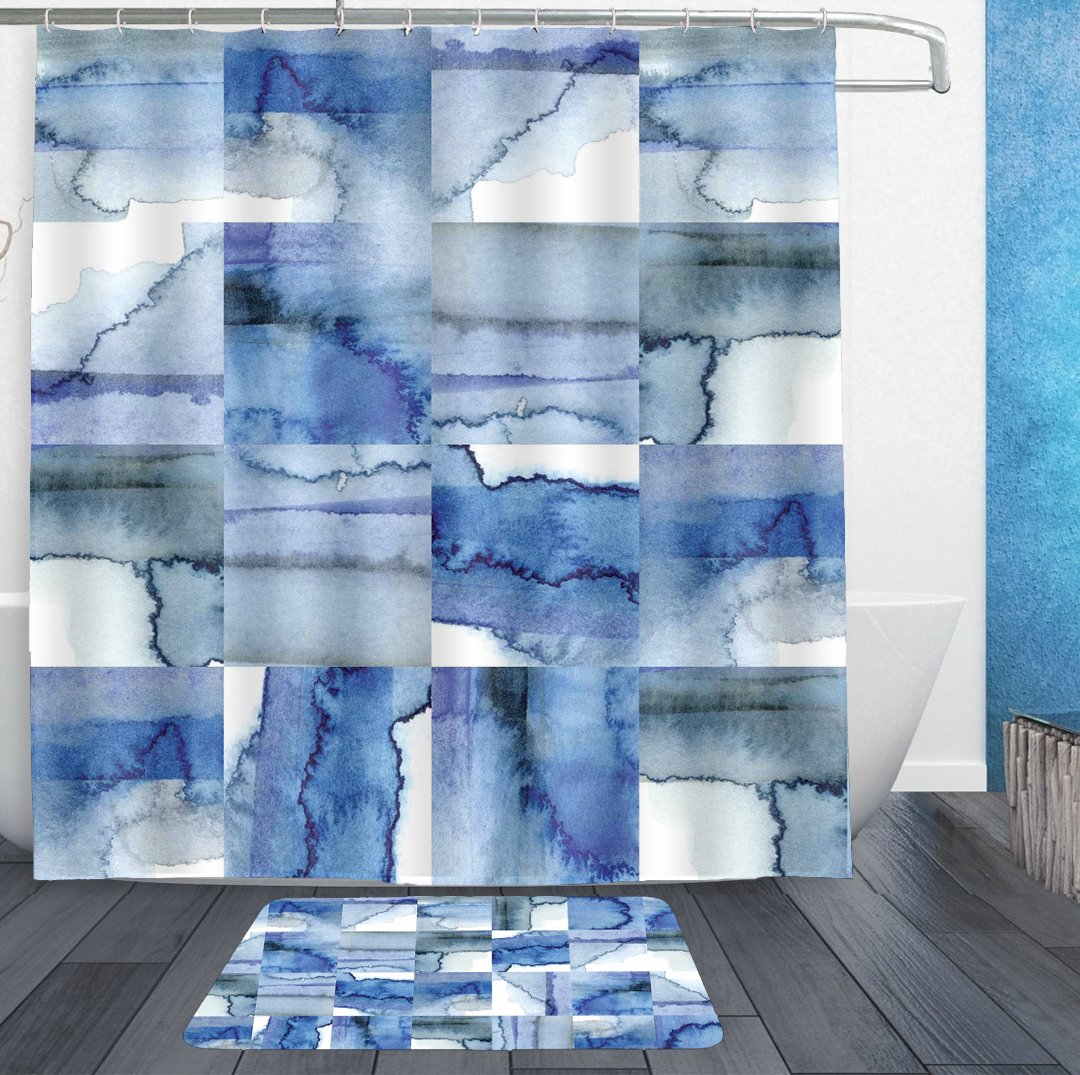 HOMESTORES Waterproof Shower Curtains 72x72 and bath rug 18x30 - Novel Blue White Cobalt Watercolor Tiles Print bath Curtain and doormat - Bathroom Decor Set With Hooks