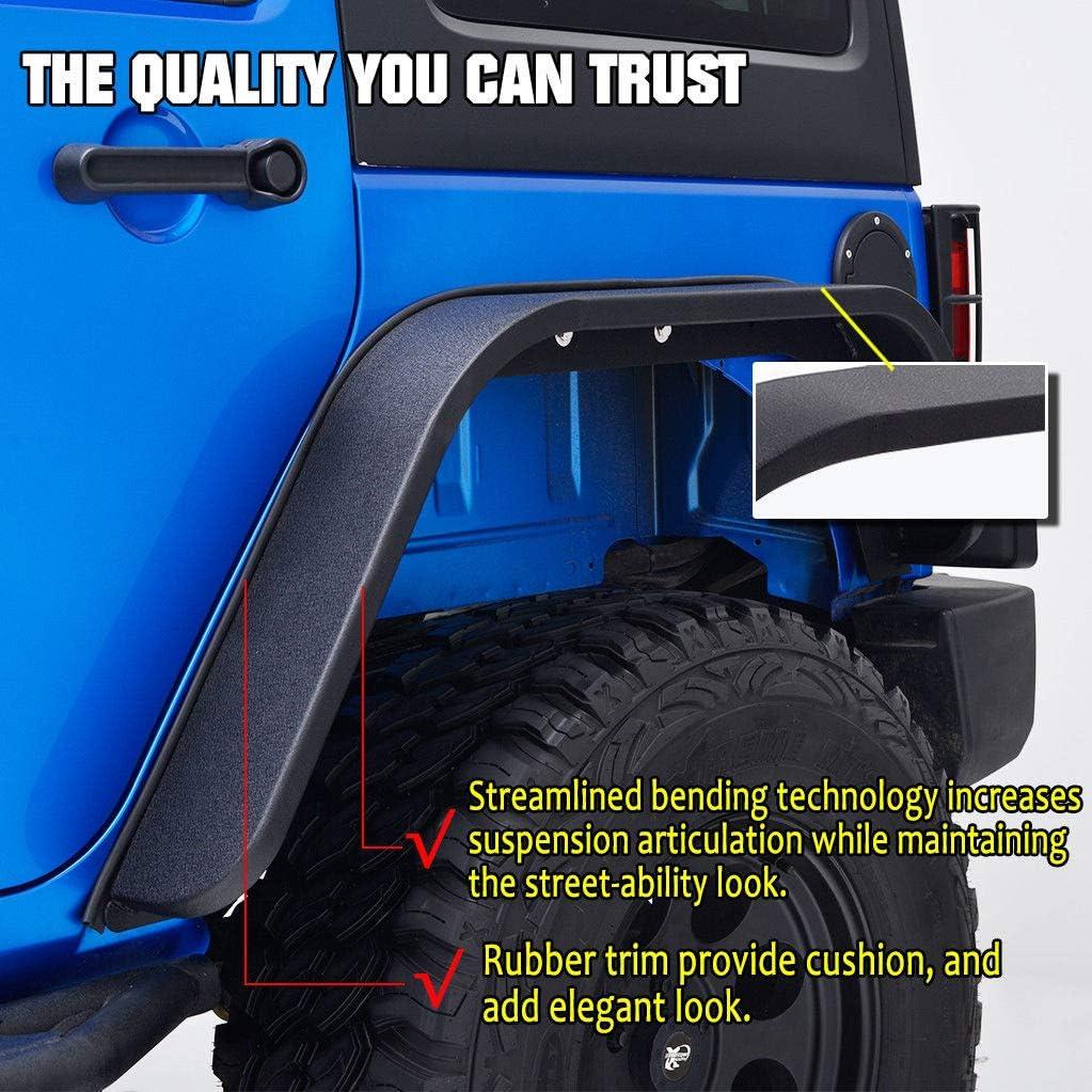 EAG Fit 07-18 Jeep Wrangler JK Rear 2PCS Flat Style Steel Fender Flares
