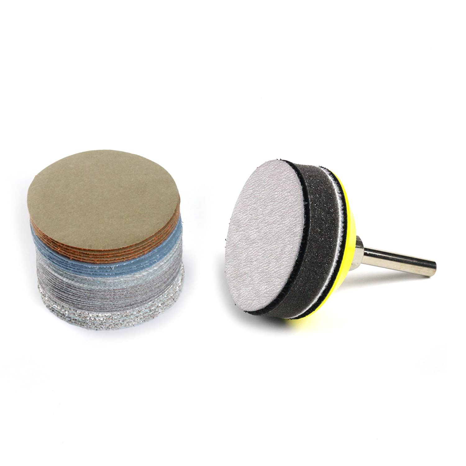 e-Rookie 2-Inch Multiple Grits Aluminum Oxide Wet/Dry Hook and Loop Sanding Discs with a 6mm Shank Backing Pad + Soft Sponge Buffering Pad, 5-pieces Each of 60, 240, 600, 1000, 5000, and 10000 Grits Jinhua Chuangda Network Technology Co. Ltd