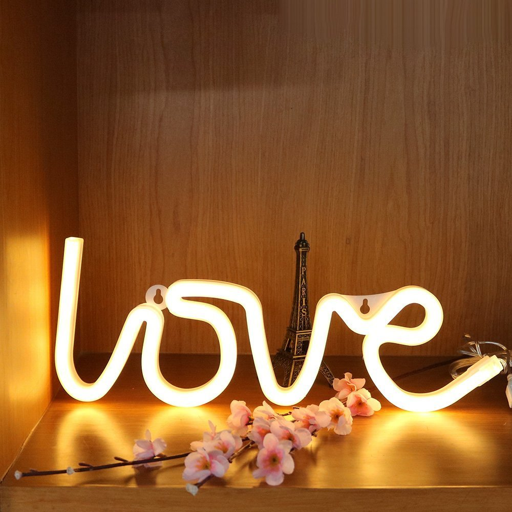DELICORE Decorative LED Love Shaped Neon Night Light with Warm White Lamp-Neon Night Light Operated by Battery/USB for Children's Room Party Christmas Wedding Decoration by DELICORE (Image #6)