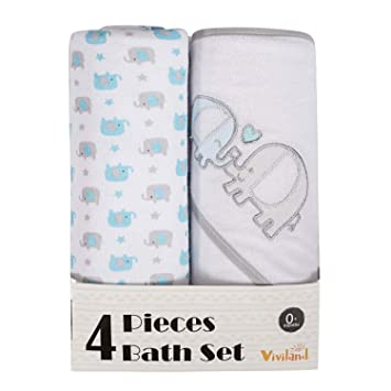 Great Gift for Infants and Newborn Viviland Baby Hooded Bath Towel and Washcloths 4 Pack Soft Touch and Strong Absorption