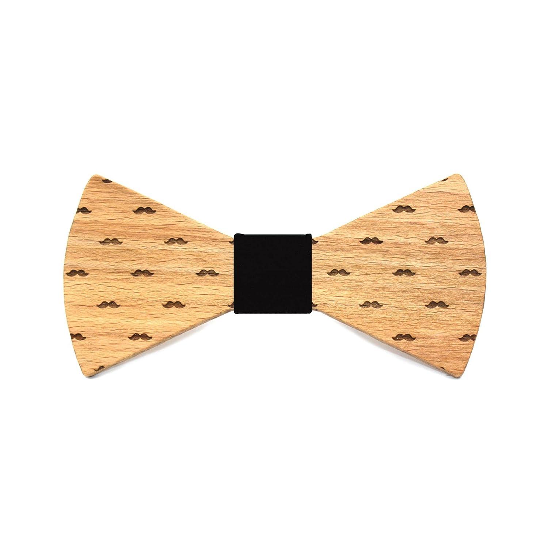 Pajarita de madera Moustache. Colección de moda hombre: Hecha a mano en España por Territorial Wood. Línea boda y eventos. Regalo elegante y original. Color de nudo a elegir