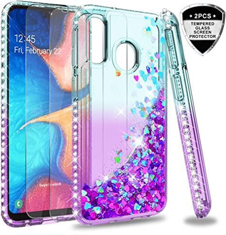 LeYi Funda Samsung Galaxy A20e Silicona Purpurina Carcasa con [2 ...