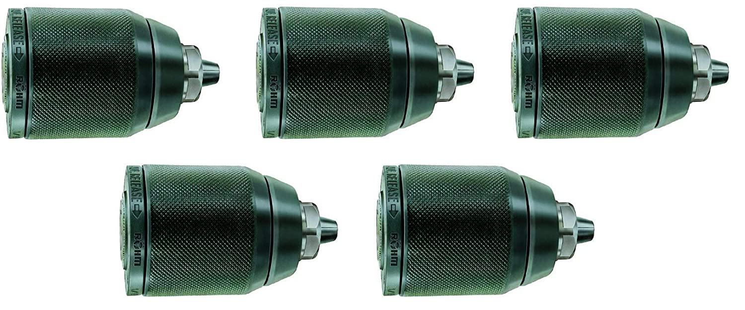 Fivе Расk 1//2-20 NC Thread Rohm 893352 Type 104-61 Extra-RV13 Metal Single Sleeve Keyless Drill Chuck with Radial Lock and Through-Hole 1.5-13mm Clamping Capacity 42.7mm Diameter