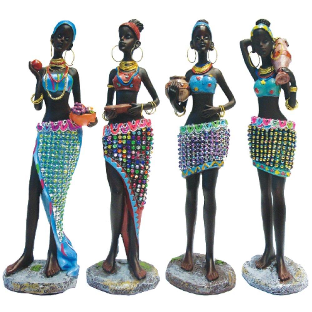 Rockin Gear African Statue 10'' Inches Tall 4 Piece Set African Women Figure Decor Art Statues Sculptures - Human Decorative Home Black Figurines