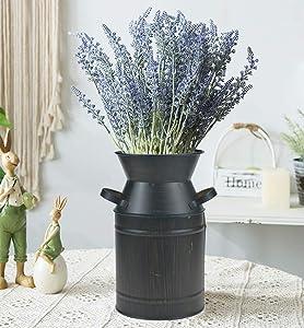 JSY-UP Black Shabby Chic Milk Can Galvanized Vase Metal Jug French Country Rustic Bucket Decorative Farmhouse Decor
