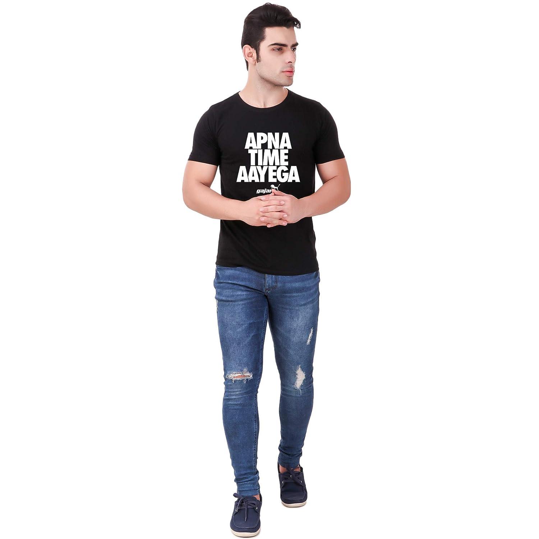 cc3bb18377ca Gajari Apna Time Aayega T Shirt for Men Black Color Regular Fit 100% Cotton  Tshirt: Amazon.in: Clothing & Accessories