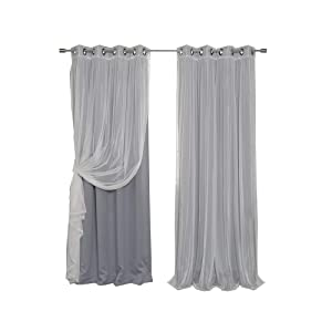 """Best Home Fashion uMIXm Mix and Match Tulle Sheer Lace and Blackout 4 Piece Curtain Set – Antique Bronze Grommet Top – Grey - 52"""" W x 84"""" L – (2 Curtains and 2 Sheer Curtains)"""