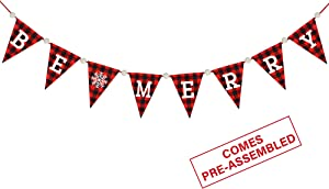 Be Merry Banner - Red Black Buffalo Plaid Christmas Bunting Banner - Christmas Decorations - Christmas Banner for Mantle Fireplace - Xmas decorations - Xmas Holiday Home Office Hanging Decor
