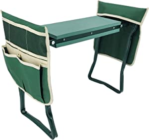 "FixtureDisplays Upgraded Garden Kneeler Seat 24"" Wide Soft Kneeling Pad Garden Tools Stools Garden Bench with 2 Large Tool Pouches Outdoor Foldable Sturdy Gardening Tools for Gardeners, Green 15299"