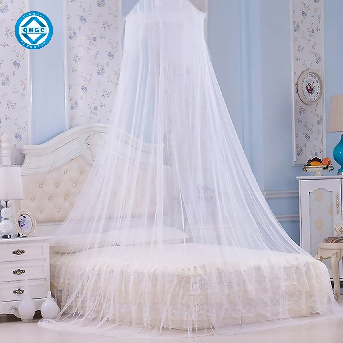 QHGC Home Mosquito net - Single Bed to Double Bed Mosquito Netting, Bed Canopy Curtains, Large White Mosquito Netting, Easy Installation, Carry Bag,Outdoor outings can Also be Used