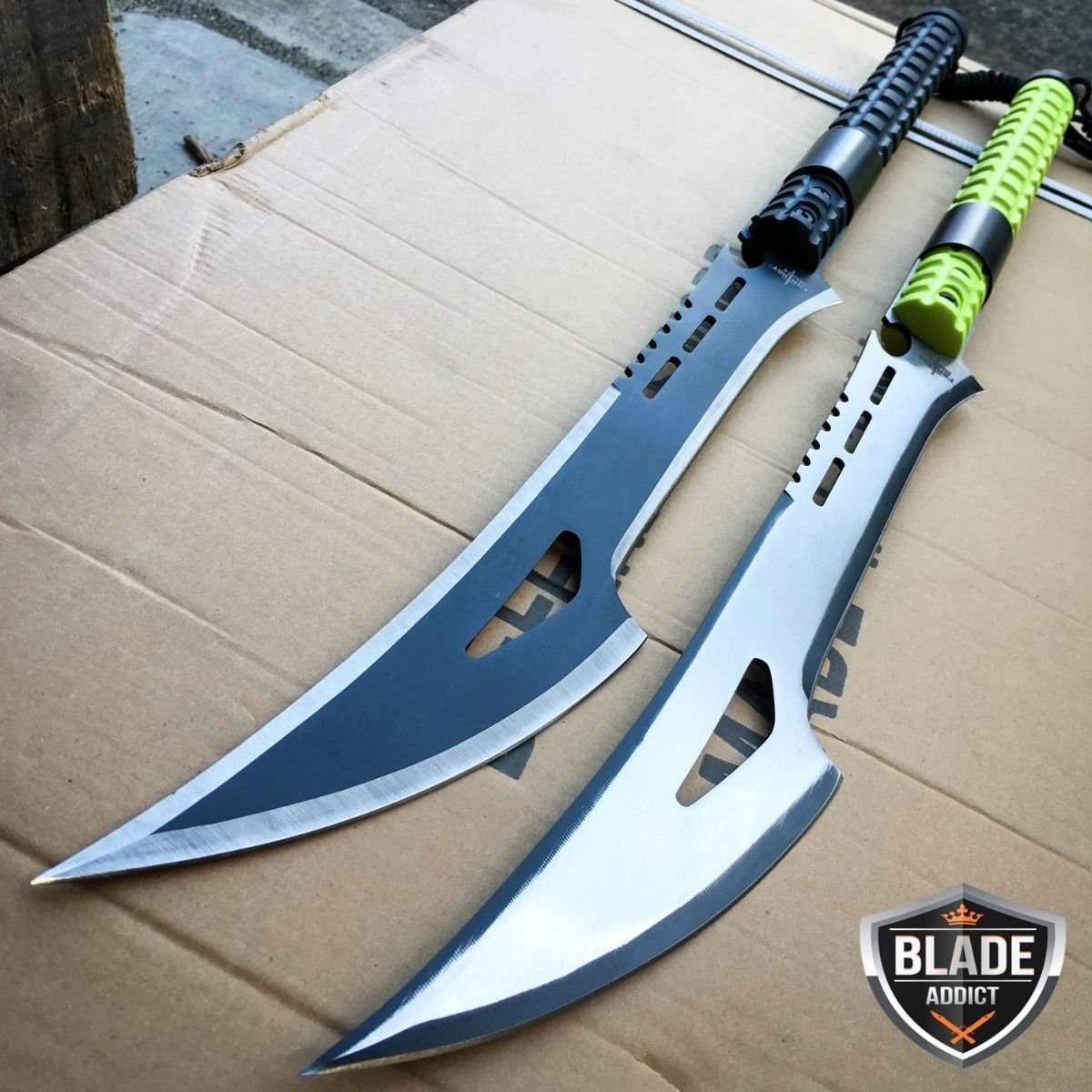 New 2PC 28'' TACTICAL SURVIVAL Fixed Blade ZOMBIE MACHETE Hunting Sword EcoGift Nice Knife with Sharp Blade Axe SET- Great For Fun And Practical Use