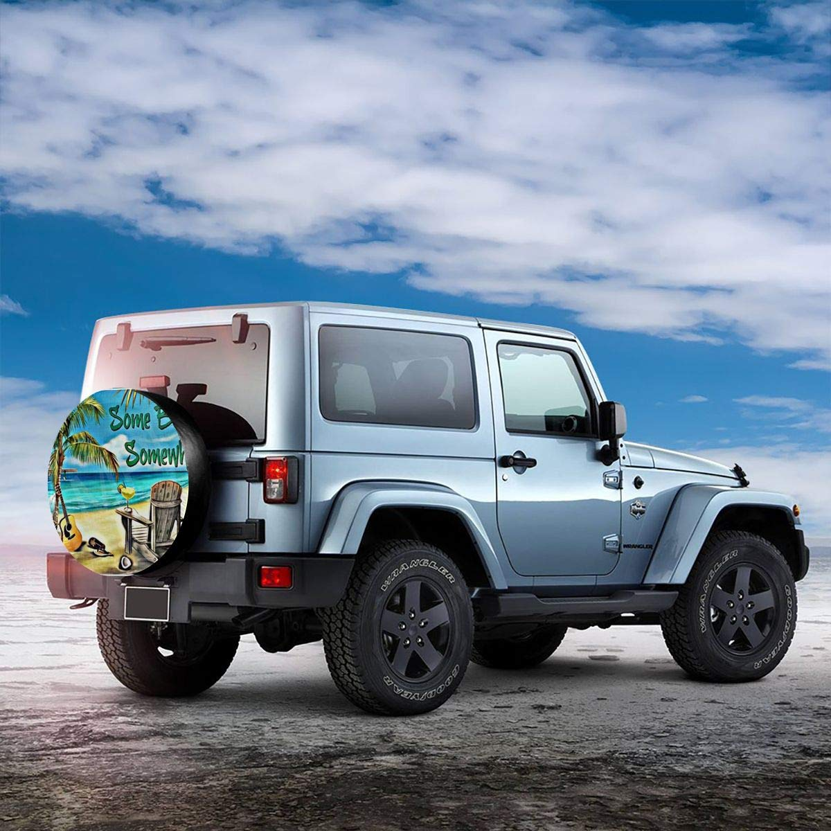 14,15,16,17 Inch Tire Cover Its-5 O Clock Somewhere Polyester Universal Spare Wheel Tire Cover Wheel Covers Jeep Trailer RV SUV Truck Camper Travel Trailer Accessories