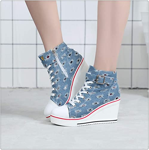 Women High Top Casual Canvas Sneaker Breathable Running Walking Platform Shoes
