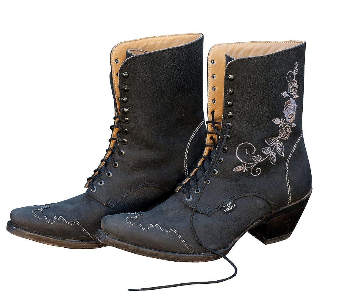 STARS & STRIPES Damen-Westerstiefel Rosie Schwarz Cowboystiefel BZW. Cowboy Stiefel & Bikerstiefel Westernstiefel Stiefeletten für Frauen BZW. Damen Schwarz