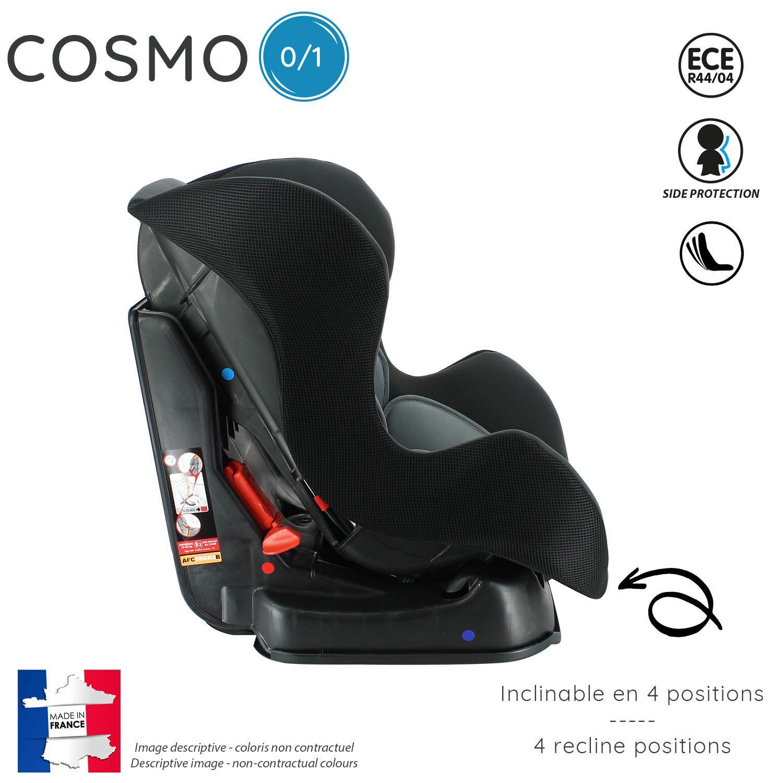 Nania 082049 Autositz COSMO Gruppe 0//1 0-18 kg Rot hergestellt in Frankreich mit Seitenschutz Nania Luxe