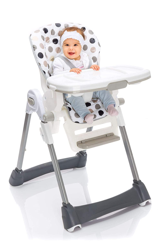 klappbarer Kombihochstuhl mit 5 Punkt-Gurt Fillikid Hochstuhl Exclusiv mit Liegefunktion Babyhochstuhl h/öhenverstellbar mit abnehmbarem Essbrett Design:beige getupft