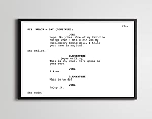 """Eternal Sunshine of the Spotless Mind - Screenplay POSTER! (up to 24"""" x 36"""") - Film - Writing - Jim Carrey - Kate Winslet - Science Fiction"""