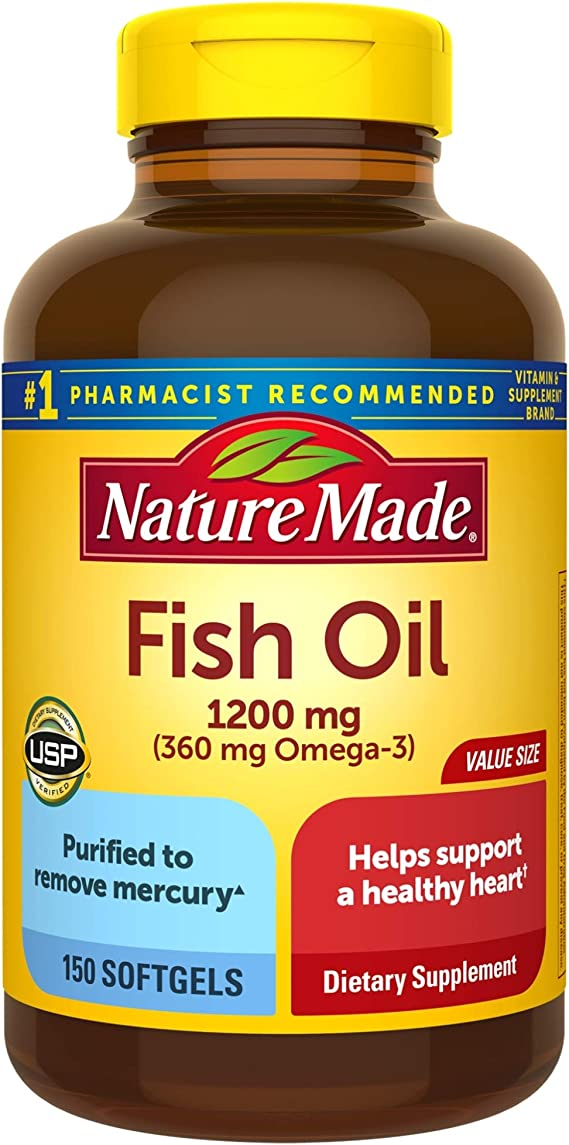 Amazon Com Nature Made Fish Oil 1200 Mg Softgels 150 Count Value Size For Heart Health Packaging May Vary Health Personal Care