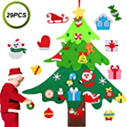 Legendog Felt Christmas Tree, Felt Christmas Tree for Toddlers Wall Felt Christmas Tree 3D DIY Xmas Decorations with 29pcs O
