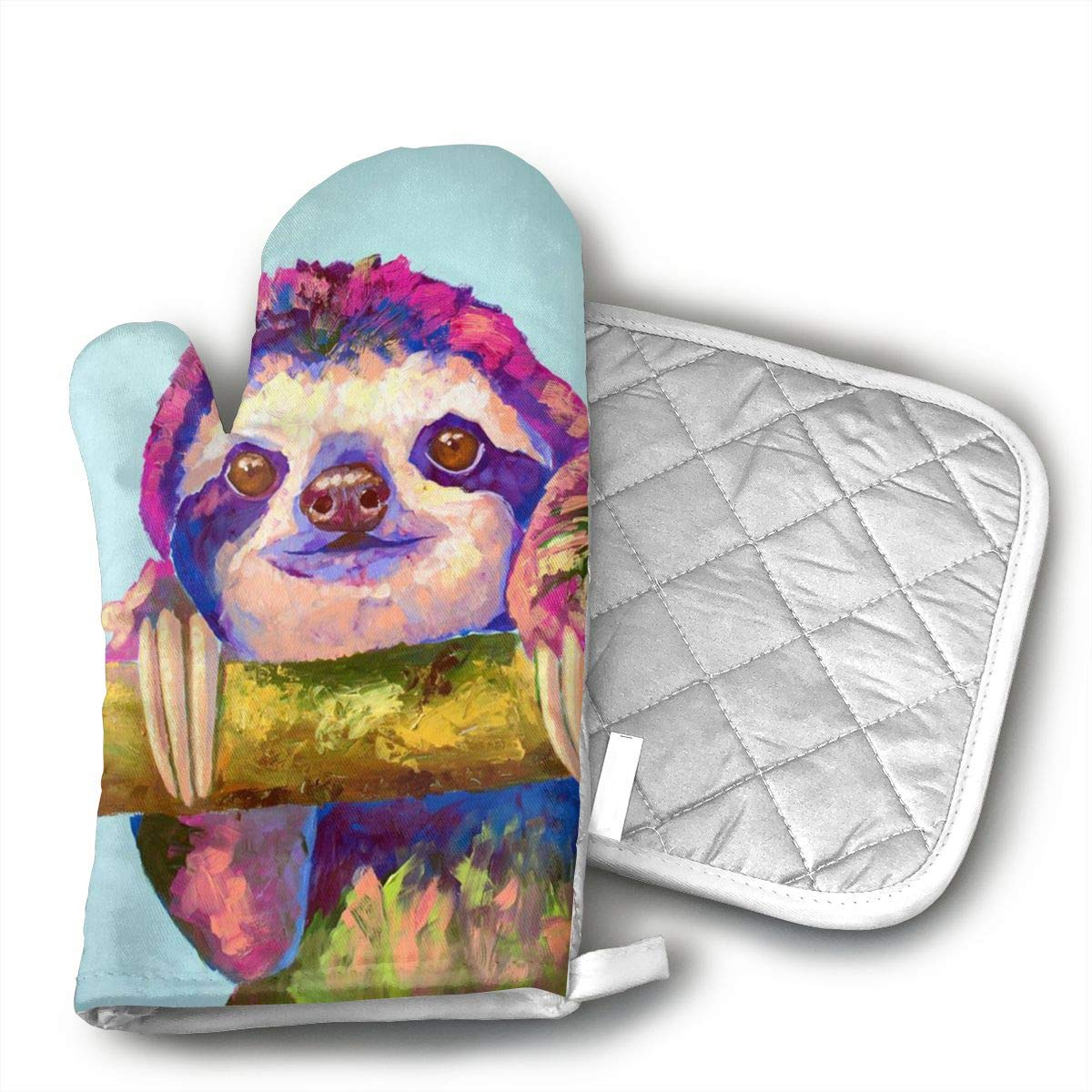 JFNNRUOP Sloth Art-Colorful Sloth Oven Mitts,with Potholders Oven Gloves,Insulated Quilted Cotton Potholders