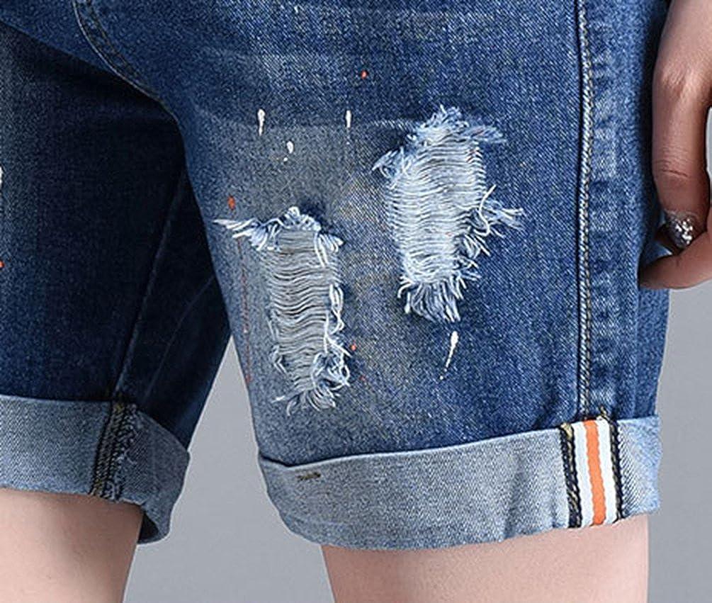 CHENGYANG Donna Viaggio Taglia Forte Pantaloni Corti Jeans Estate Pantaloncini Casuale Shorts