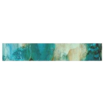 Kess InHouse RB1041ATR01 Rosie Brown U0026quot;Waterfallu0026quot; Teal Blue Table  Runner