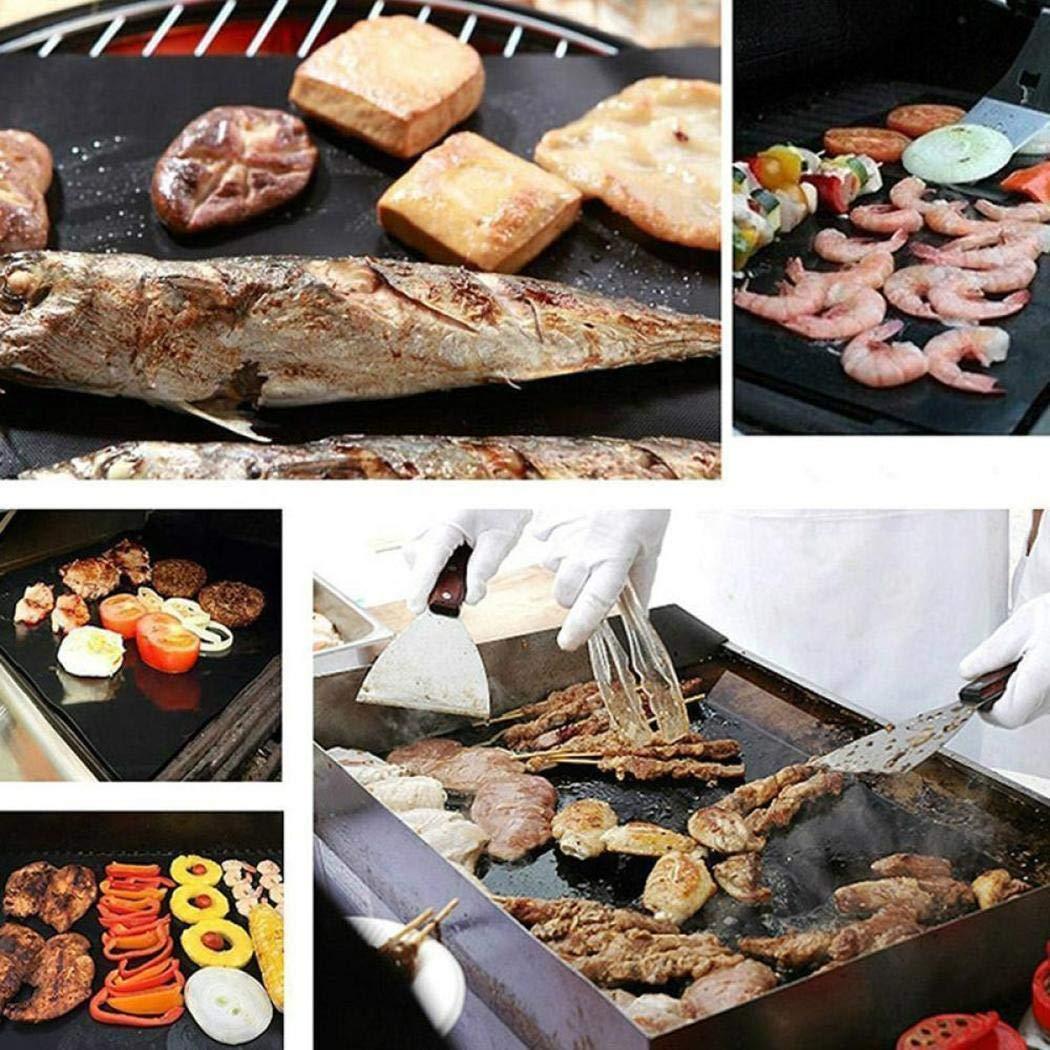 Kirken Reusable Non-stick BBQ Grill Roast Mat Portable Outdoor Picnic Cooking Barbecue Baking Mats 15.7 x 13 Inch
