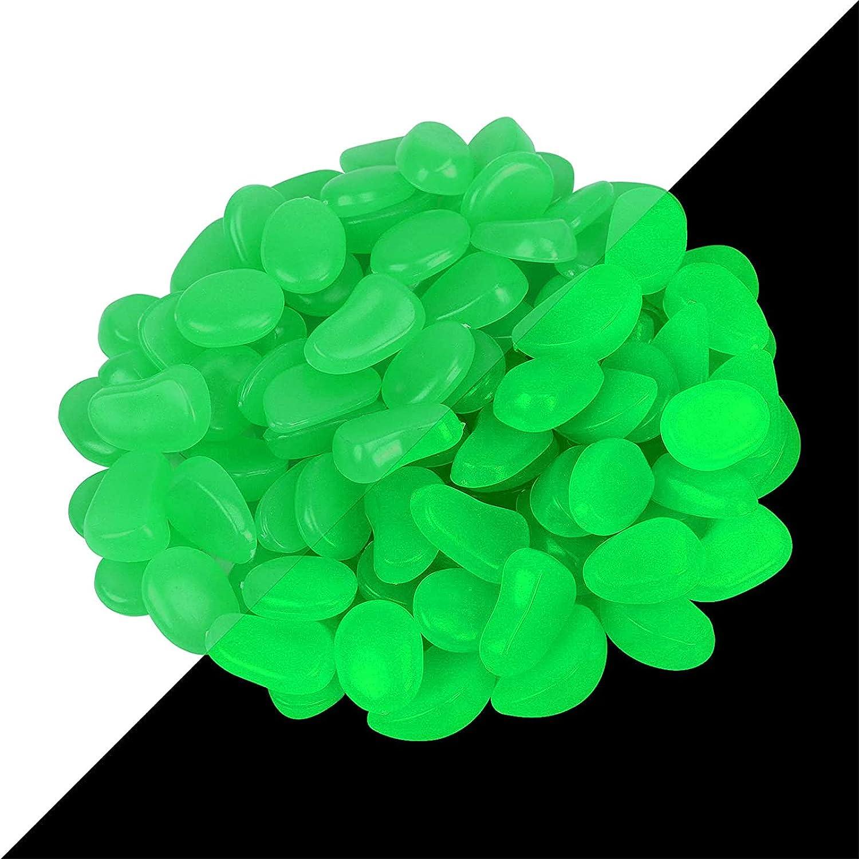 ZoomSky Pietra Luminosa 200 PCS Ciottoli Luminosi Resina Glowing Stone Illumina il Tuo Giardino Acquario Affascinante Luce Verde Decora l'atmosfera da Sogno per Te